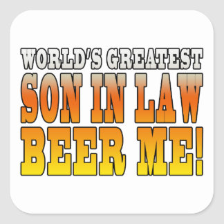 Funny Birthday Wedding Worlds Greatest Son in Law Square Sticker