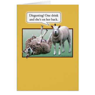 Funny Birthday: Wild and Woolly Sheep Greeting Card