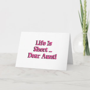 Funny Birthday Wishes For Aunt Pink On White Card
