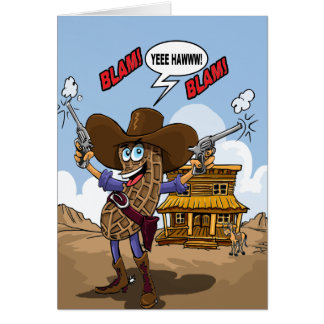 Funny Birthday Wishes - Peanut Cowboy Card