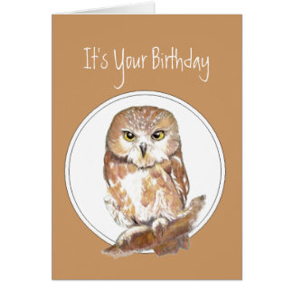 Funny, Birthday, With Age Comes Wisdom? Cute Owl Card