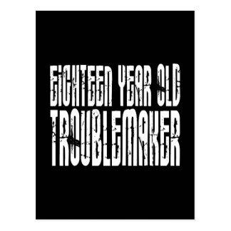 Funny Birthdays : Eighteen Year Old Troublemaker Postcard