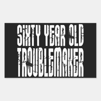 Funny Birthdays : Sixty Year Old Troublemaker Rectangular Sticker
