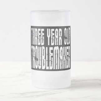 Funny Birthdays : Three Year Old Troublemaker Frosted Glass Beer Mug