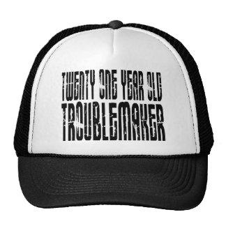 Funny Birthdays : Twenty One Year Old Troublemaker Trucker Hat