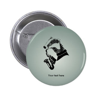 Funny Black and White Badger Saxophone Button