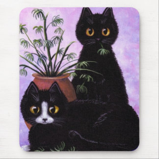 Funny Black and White Cat Creationarts Mouse Pad