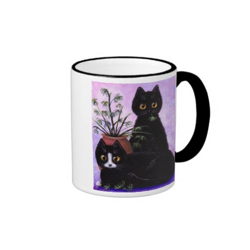 Funny Black and White Cat Creationarts Ringer Coffee Mug