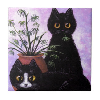 Funny Black and White Cat Creationarts Tile