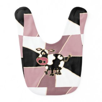 Funny Black and White Cow Art Baby Bibs