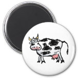 Funny Black and White Cow Cartoon 2 Inch Round Magnet