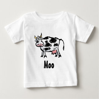 Funny Black and White Cow Cartoon Baby T-Shirt