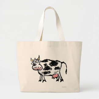 Funny Black and White Cow Cartoon Large Tote Bag