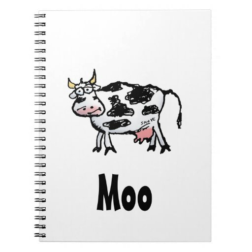 Funny Black and White Cow Cartoon Spiral Notebook
