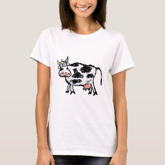 Funny Black and White Cow Cartoon T-Shirt