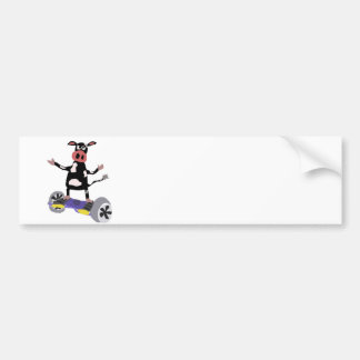 Funny Black and White Cow on Hoverboard Bumper Sticker