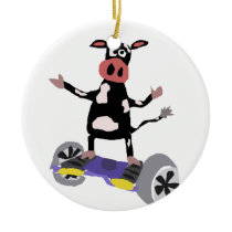 Funny Black and White Cow on Hoverboard Ceramic Ornament