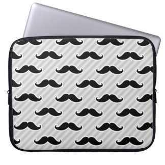 Funny Black and White Mustaches Pattern Computer Sleeve
