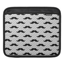 Funny Black and White Mustaches Pattern iPad Sleeve