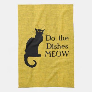 Funny Black and Yellow Cat Hand or Kitchen Towel