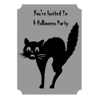 funny black angry cat halloween party invite