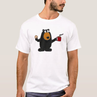 Funny Black Bear Eating Donut and Drinking Coffee T-Shirt