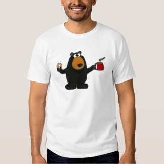 Funny Black Bear Eating Donut and Drinking Coffee Tshirts