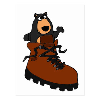 Funny Black Bear in Brown Hiking Boot Postcards