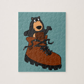 Funny Black Bear in Brown Hiking Boot Puzzle