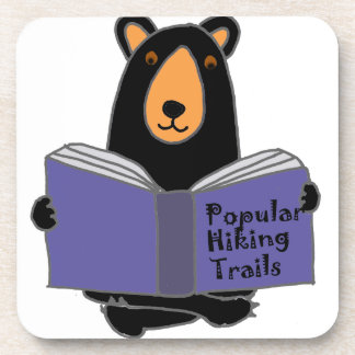 Funny Black Bear Reading about Hiking Trails Beverage Coaster