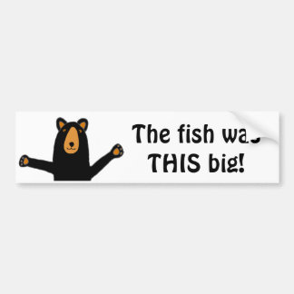 Funny Black Bear Telling Fish Story Bumper Sticker