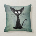 Funny Black Cat Art on a Vintage Blue Green Throw Pillow