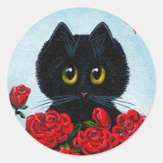 Funny Black Cat Art Roses Creationarts Classic Round Sticker