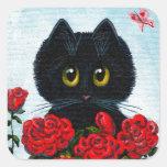 Funny Black Cat Art Roses Creationarts Square Sticker