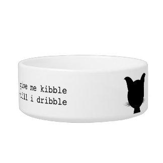Funny Black Cat Bowl give me kibble till I dribble