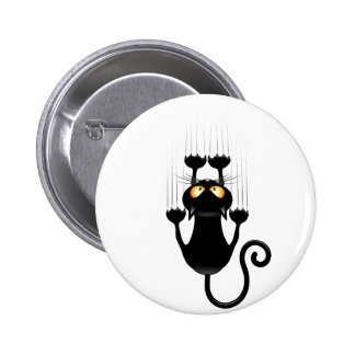 Funny Black Cat Cartoon Scratching Wall Button