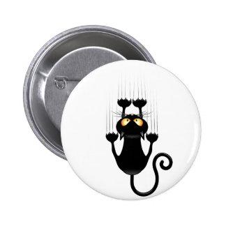Funny Black Cat Cartoon Scratching Wall Button