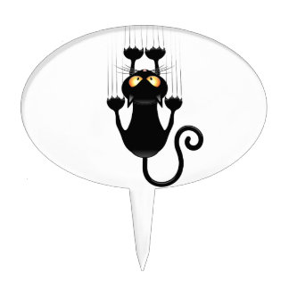 Funny Black Cat Cartoon Scratching Wall Cake Topper
