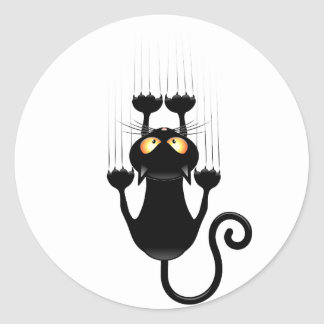 Funny Black Cat Cartoon Scratching Wall Classic Round Sticker