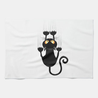 Funny Black Cat Cartoon Scratching Wall Hand Towel