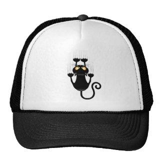 Funny Black Cat Cartoon Scratching Wall Mesh Hat