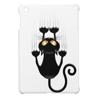 Funny Black Cat Cartoon Scratching Wall iPad Mini Covers