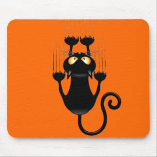 Funny Black Cat Cartoon Scratching Wall Mouse Pad