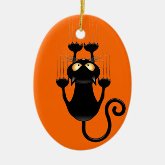 Funny Black Cat Cartoon Scratching Wall Christmas Tree Ornaments
