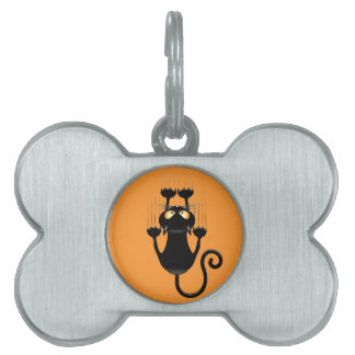 Funny Black Cat Cartoon Scratching Wall Pet Tags