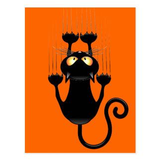 Funny Black Cat Cartoon Scratching Wall Postcard