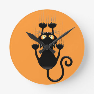 Funny Black Cat Cartoon Scratching Wall Round Clock