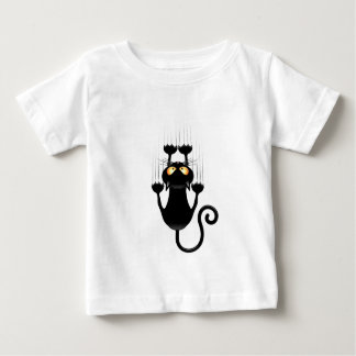 Funny Black Cat Cartoon Scratching Wall T Shirt