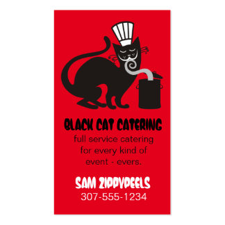 Funny black cat chef hat aromas culinary catering business card