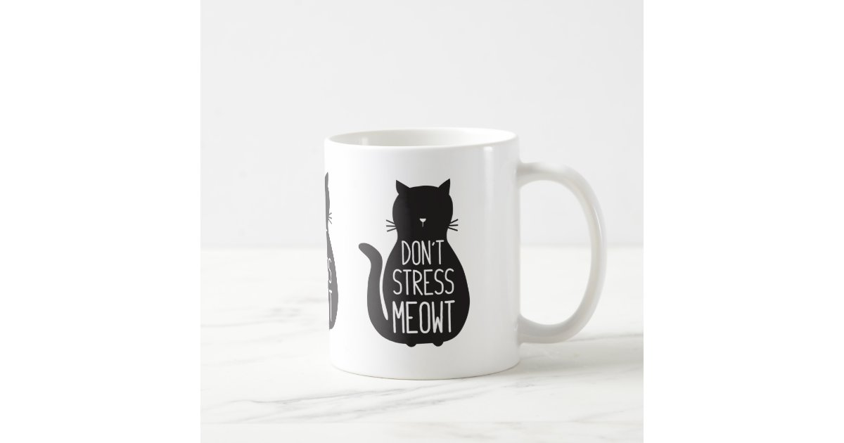 Sass /& Belle Ceramic Black /& White Cat Mug Don/'t Stress Meowt Novelty